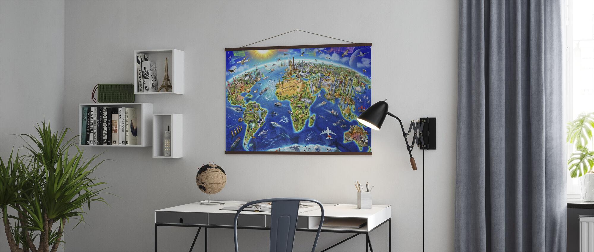 World Landmarks Globe - Poster - Office