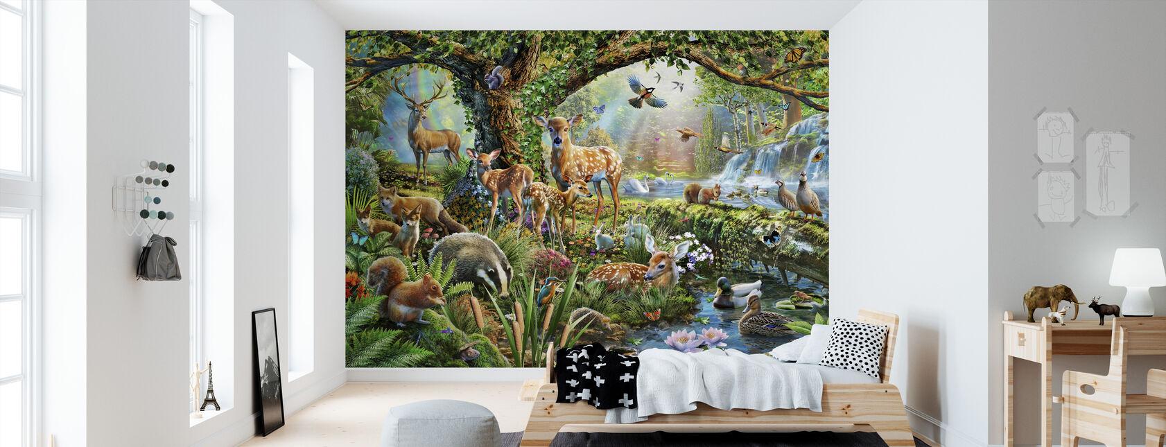 Skogsmark varelser - Tapet - Barnrum