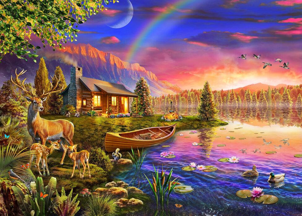 Cabine aan het meer - Canvas print
