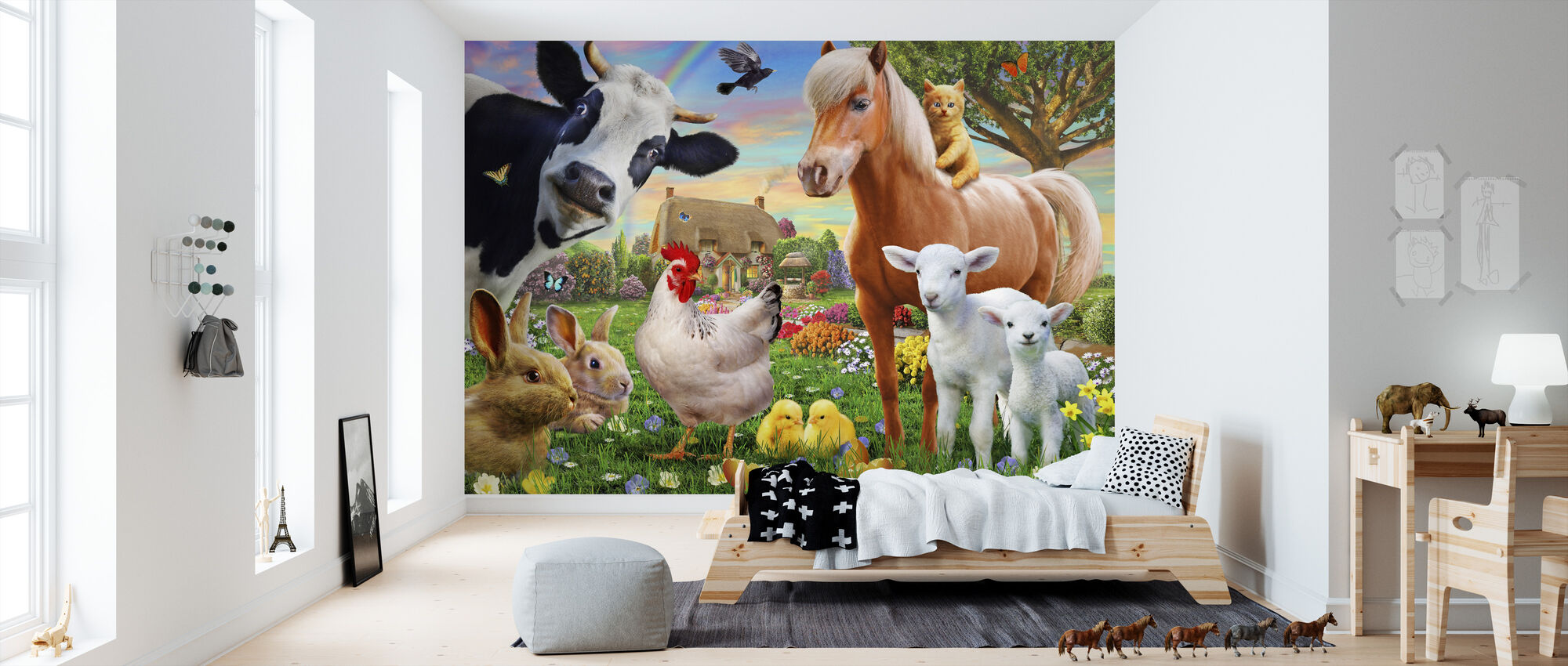Boerderij Dieren voor kinderen - Behang - Kinderkamer