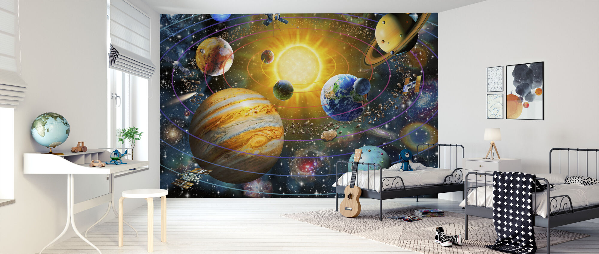 Ringed Solar System - Wallpaper - Kids Room