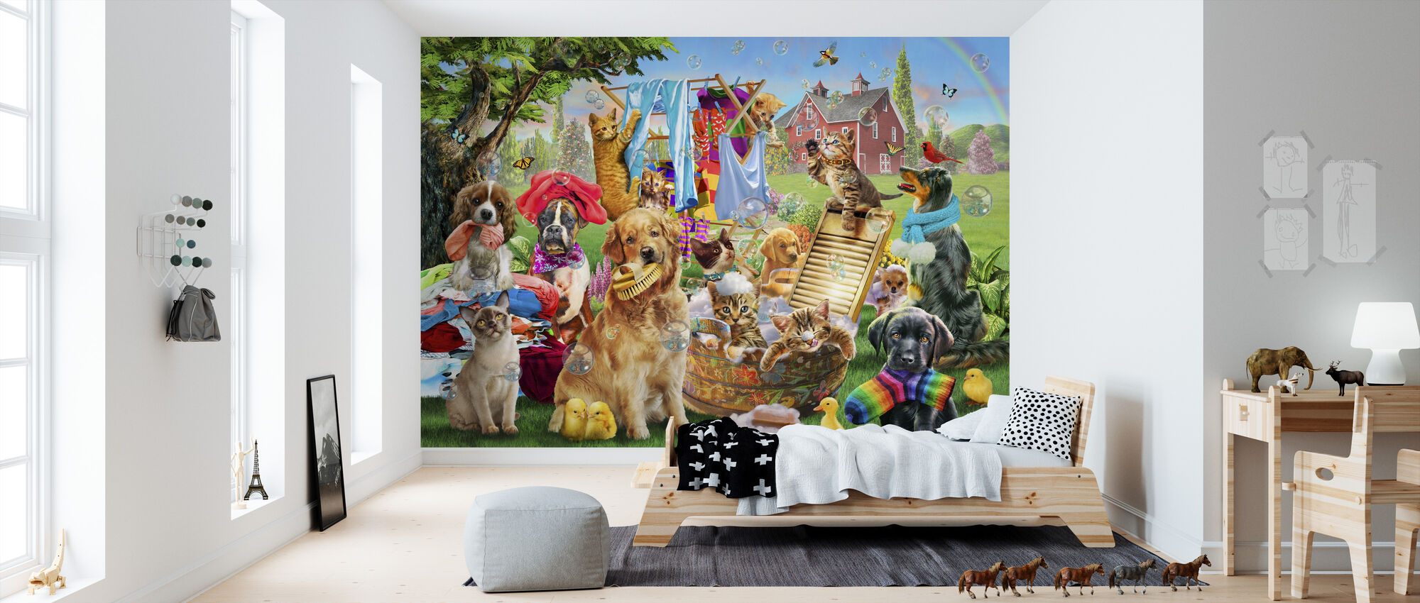 Pets On Wash Day - Wallpaper - Kids Room