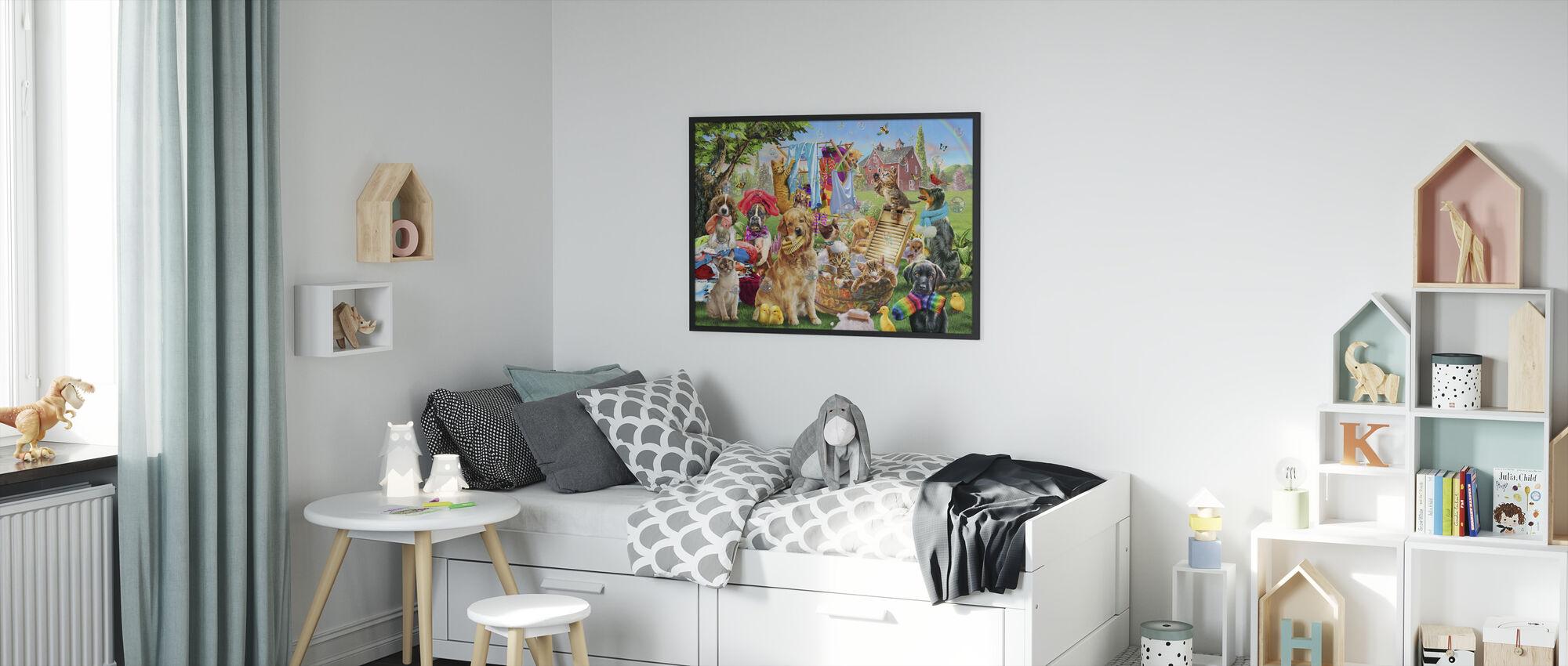 Pets On Wash Day - Framed print - Kids Room