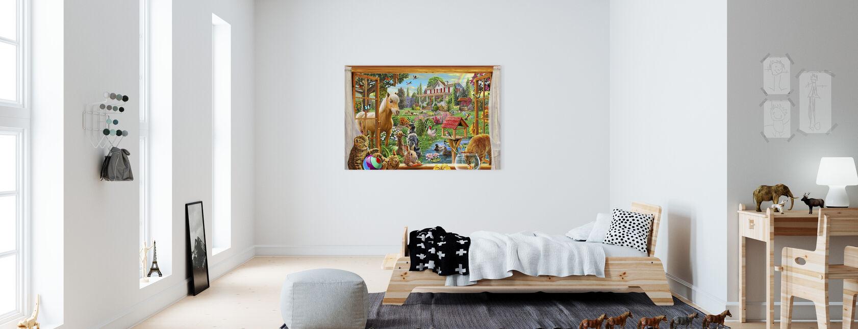Dieren in de tuin - Canvas print - Kinderkamer