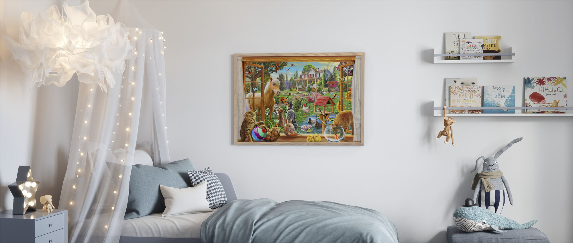 Animals in the garden - Framed print - Kids Room