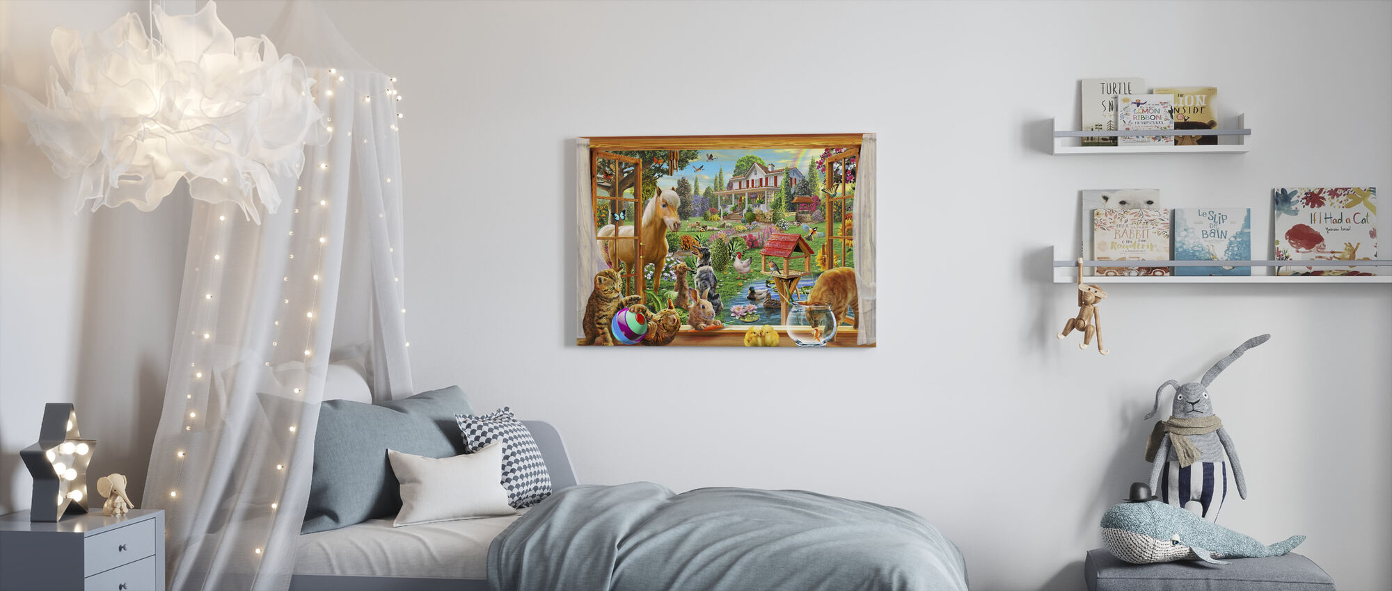 Animals in the garden - Canvas print - Kids Room