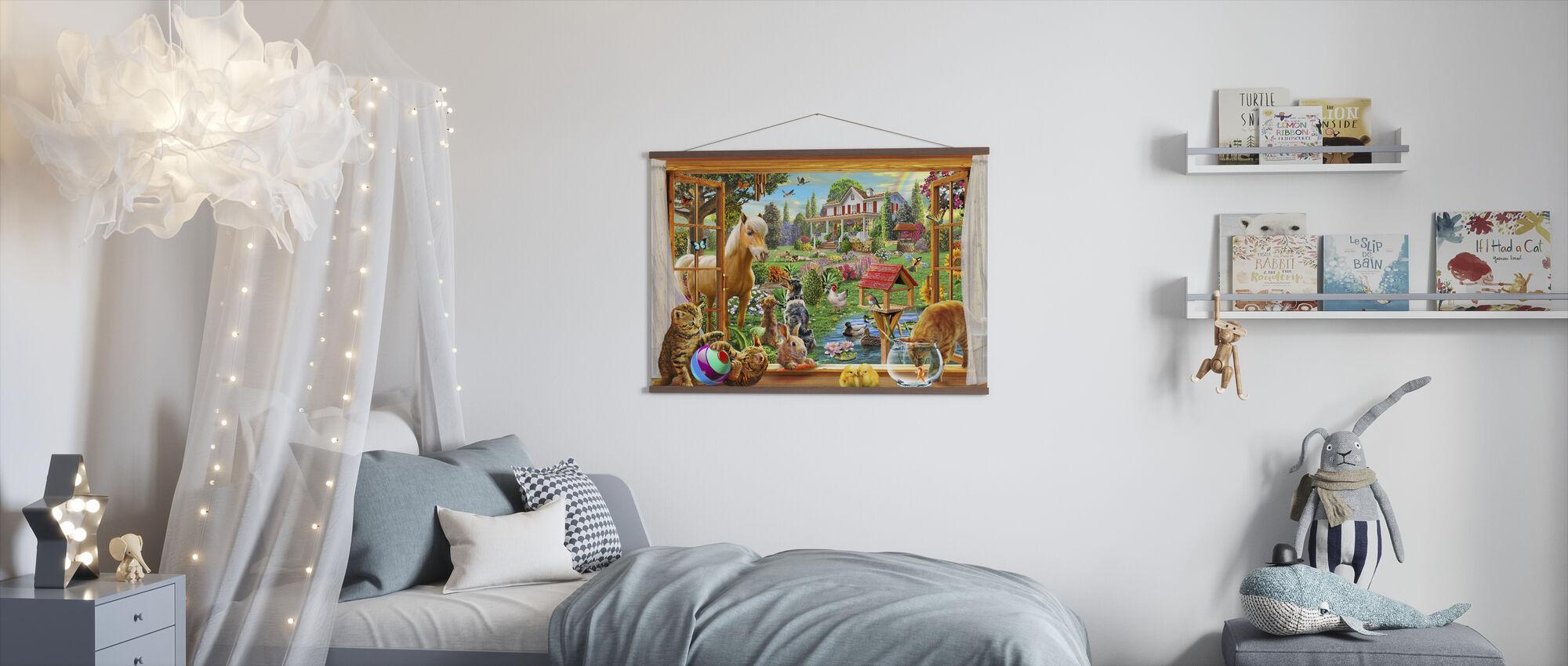 Animals in the garden - Poster - Kids Room