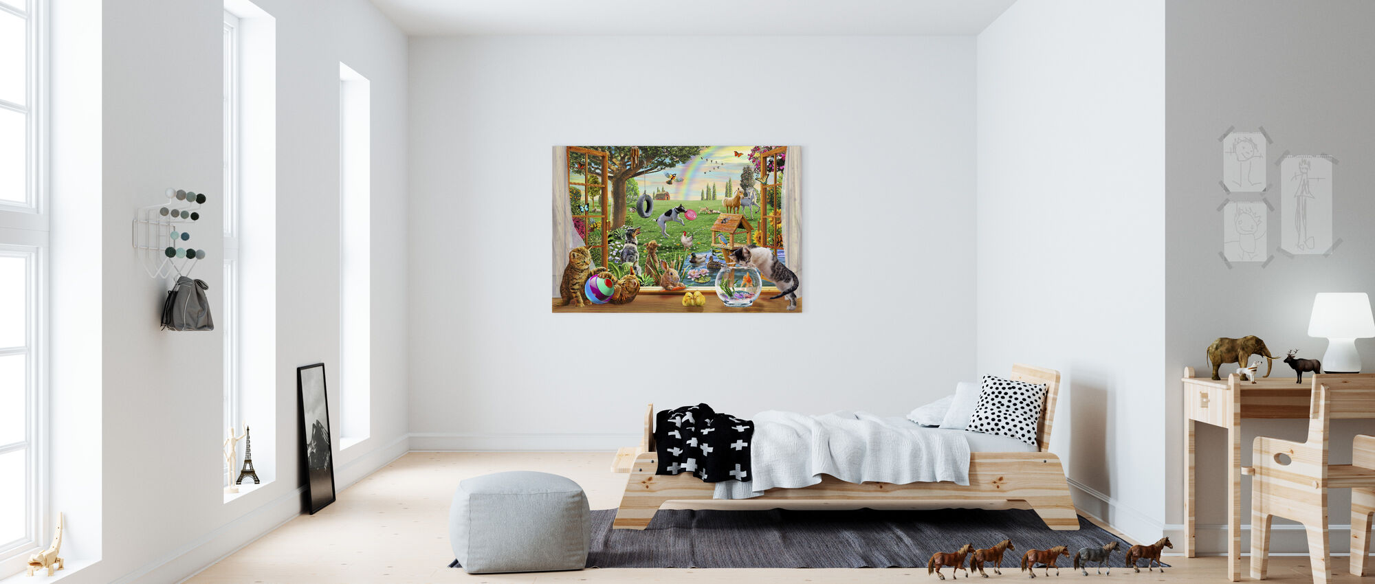 Husdjur i trädgården - Canvastavla - Barnrum