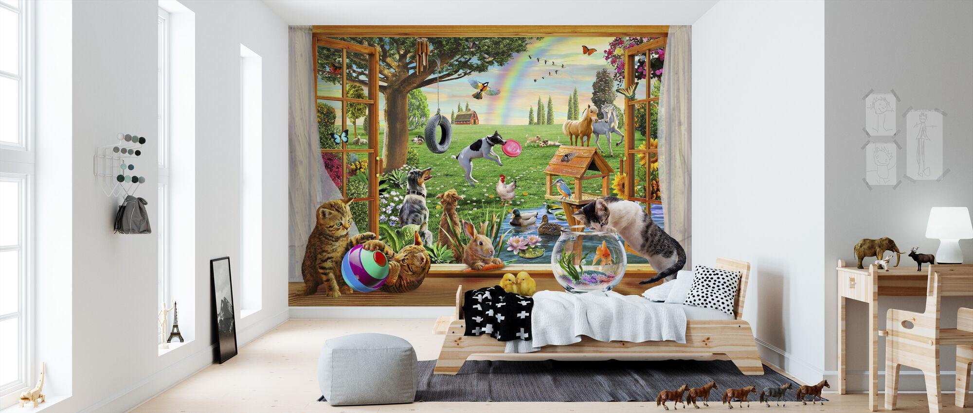 Husdjur i trädgården - Tapet - Barnrum