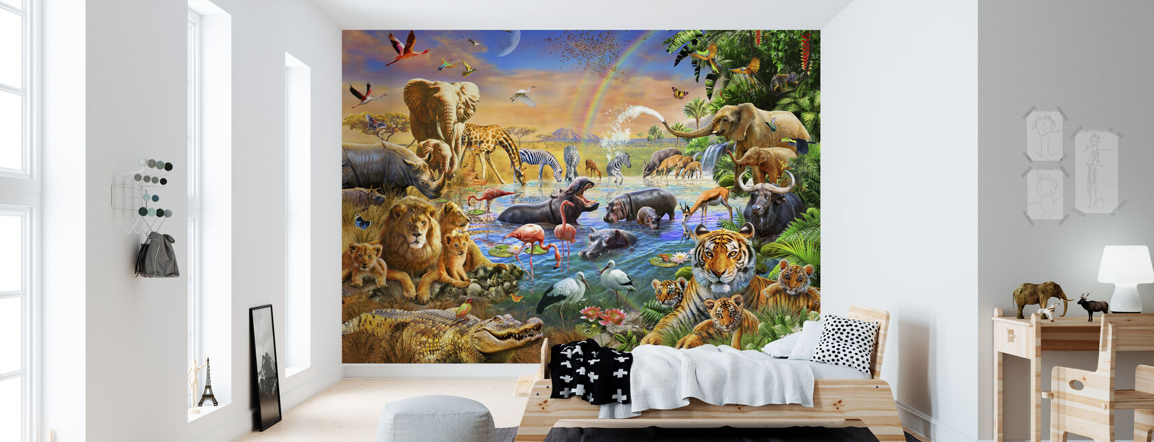 Savannah Jungle Waterhole - Behang - Kinderkamer