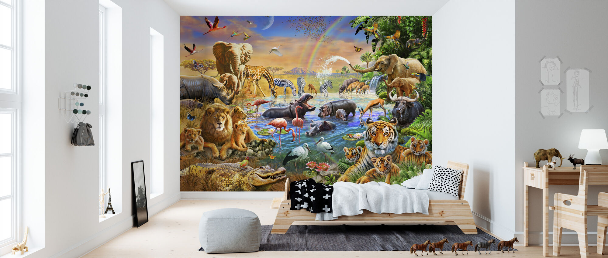Savannah Jungle Waterhole - Wallpaper - Kids Room