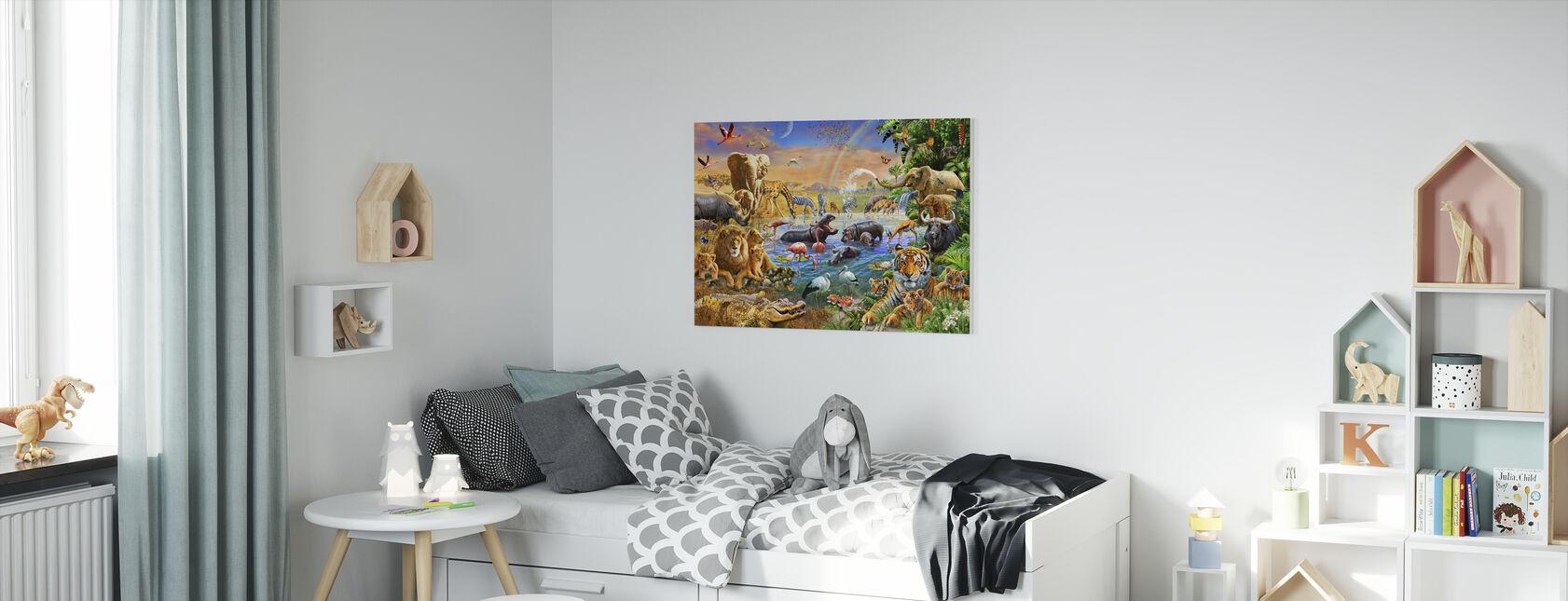 Savannah jungelen vannhull - Lerretsbilde - Barnerom
