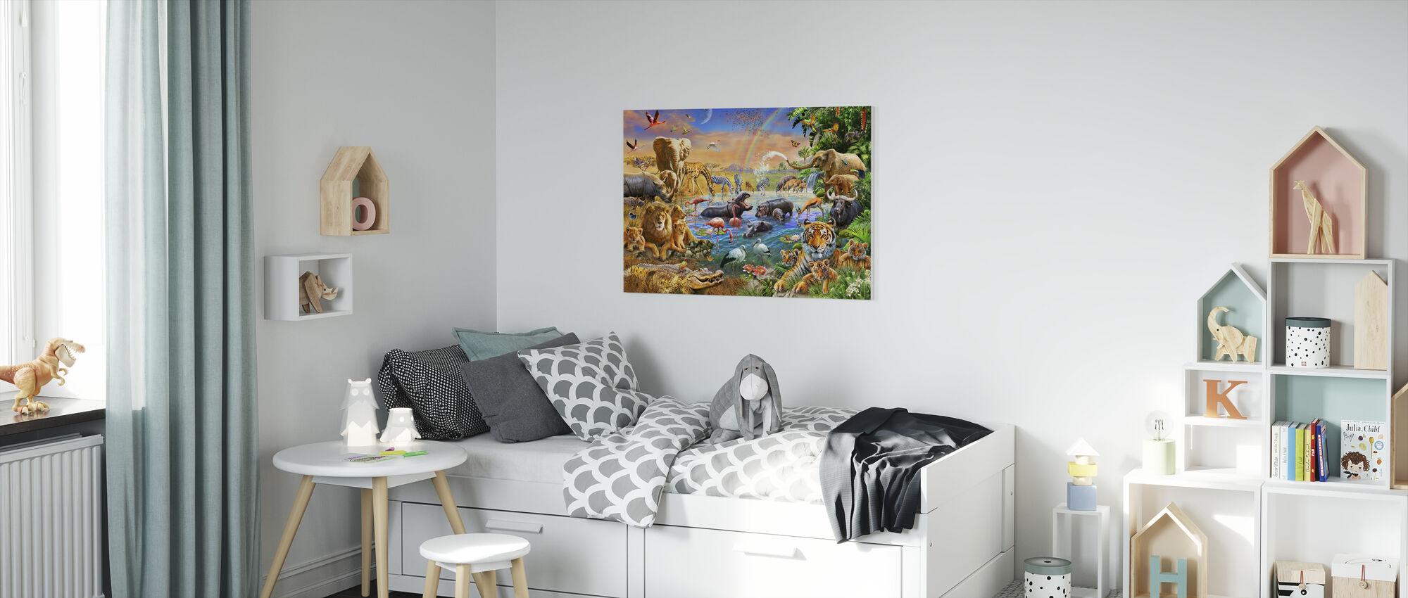Savannah Jungle Waterhole - Canvas print - Kids Room
