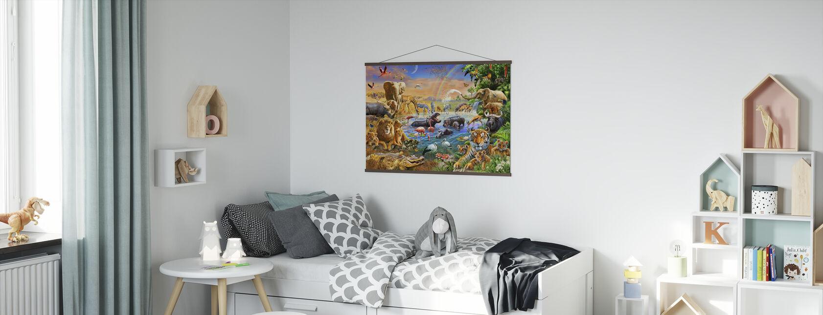 Savannah Dschungel-Wasserloch - Poster - Kinderzimmer