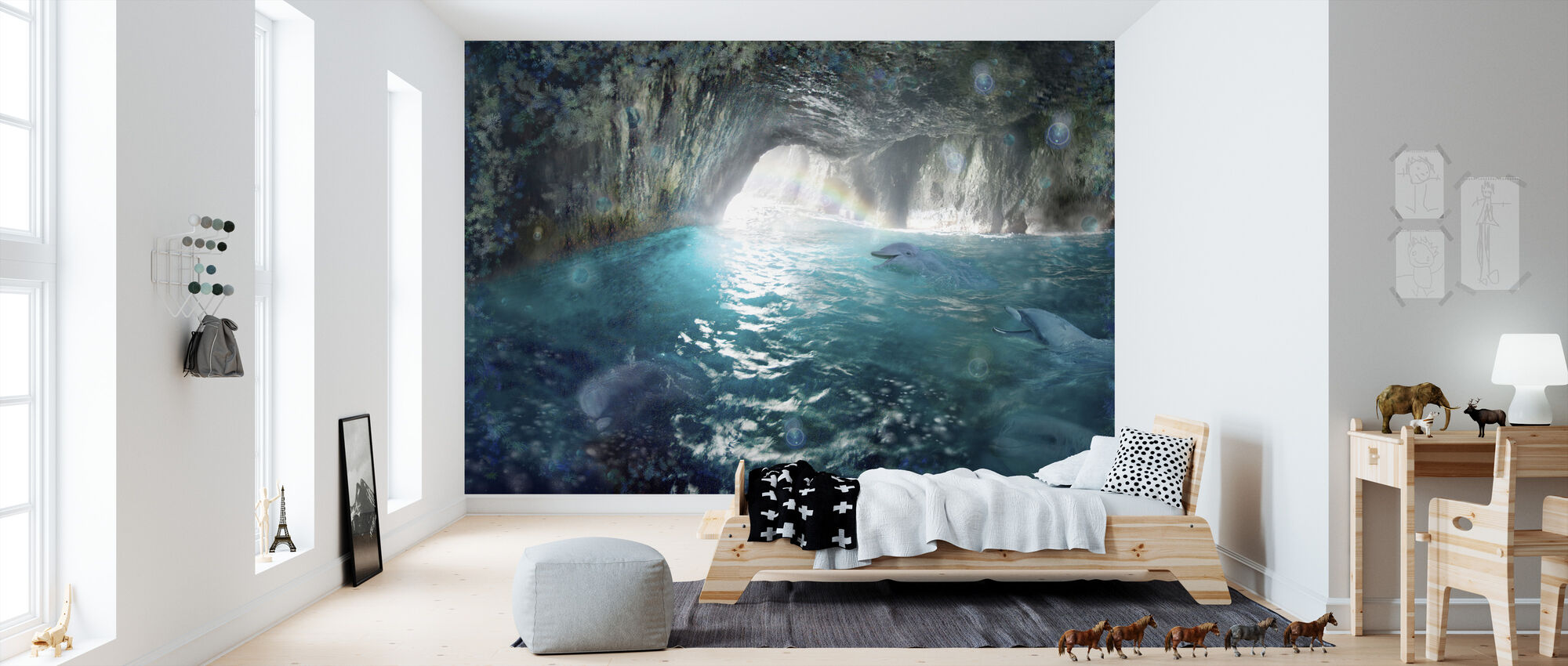 Dolphin Seacave - Wallpaper - Kids Room