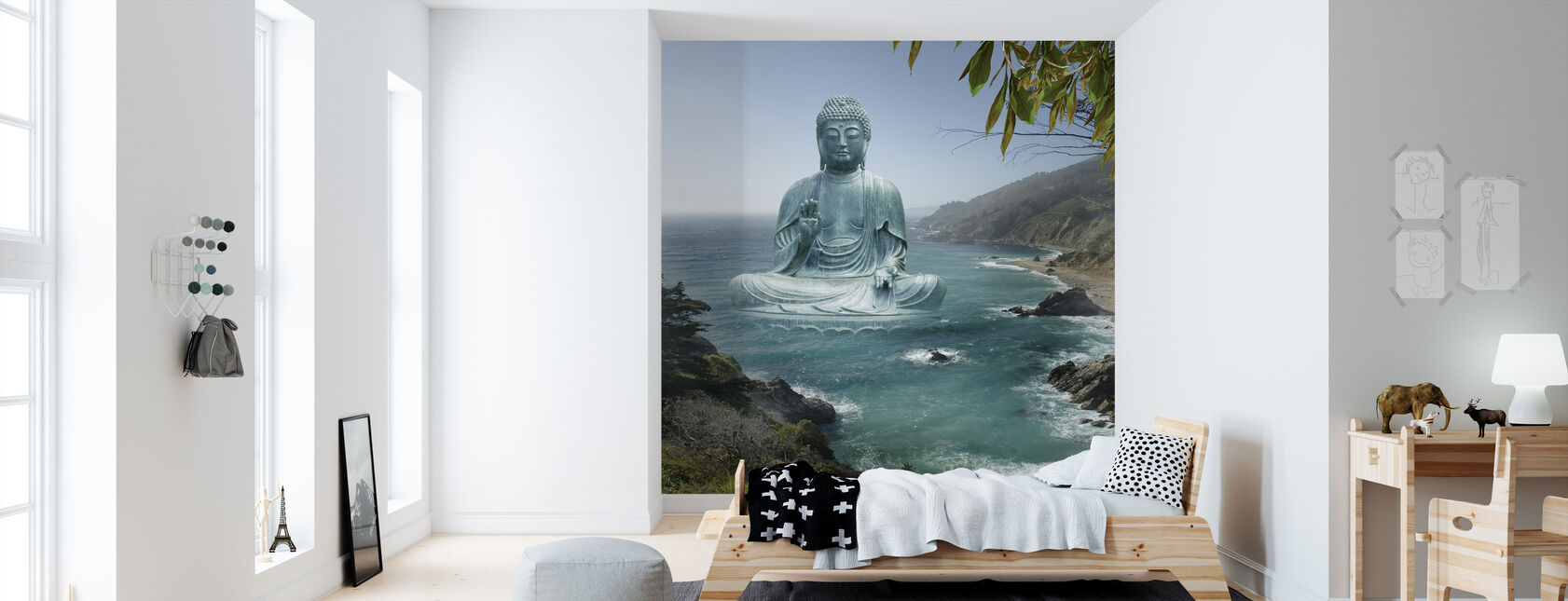 Big Sur Tea Garden Buddha - Wallpaper - Kids Room