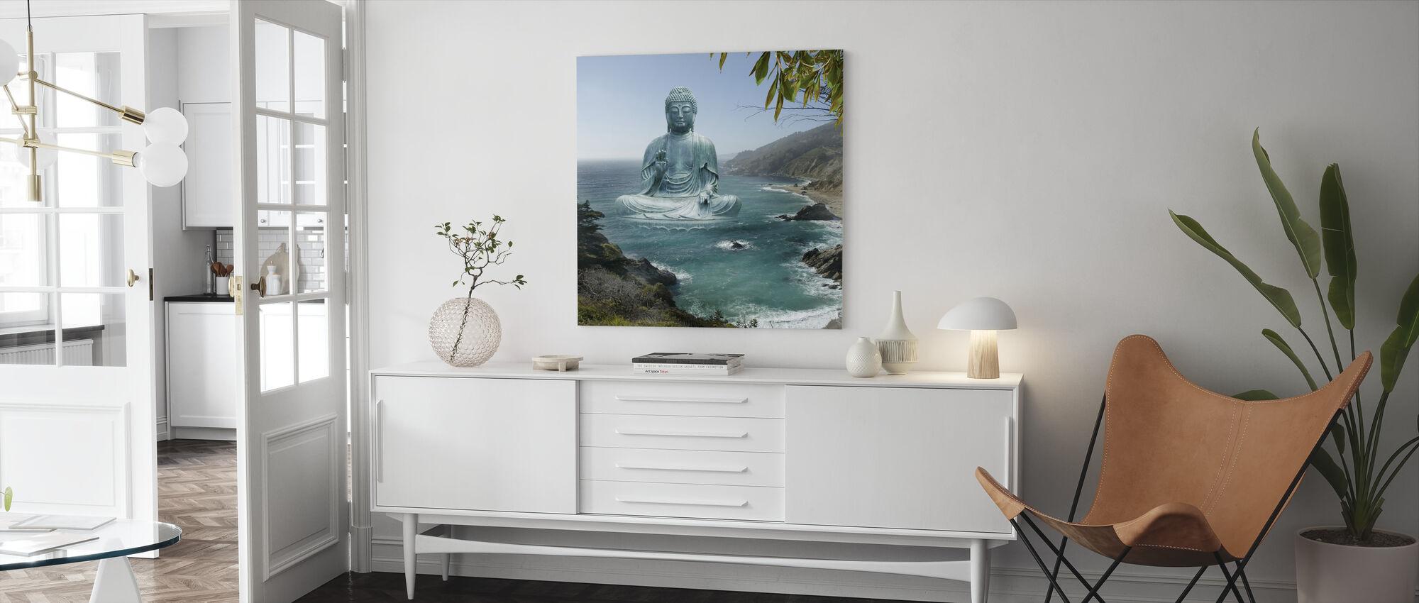 Grote Sur Tea Garden Boeddha - Canvas print - Woonkamer