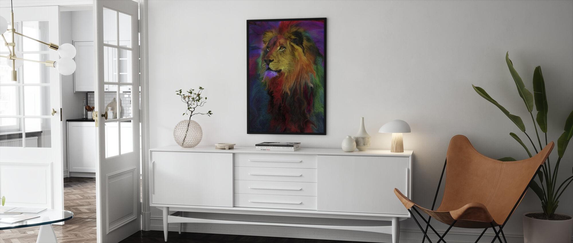 Regnbåge lejon - Inramad tavla - Vardagsrum
