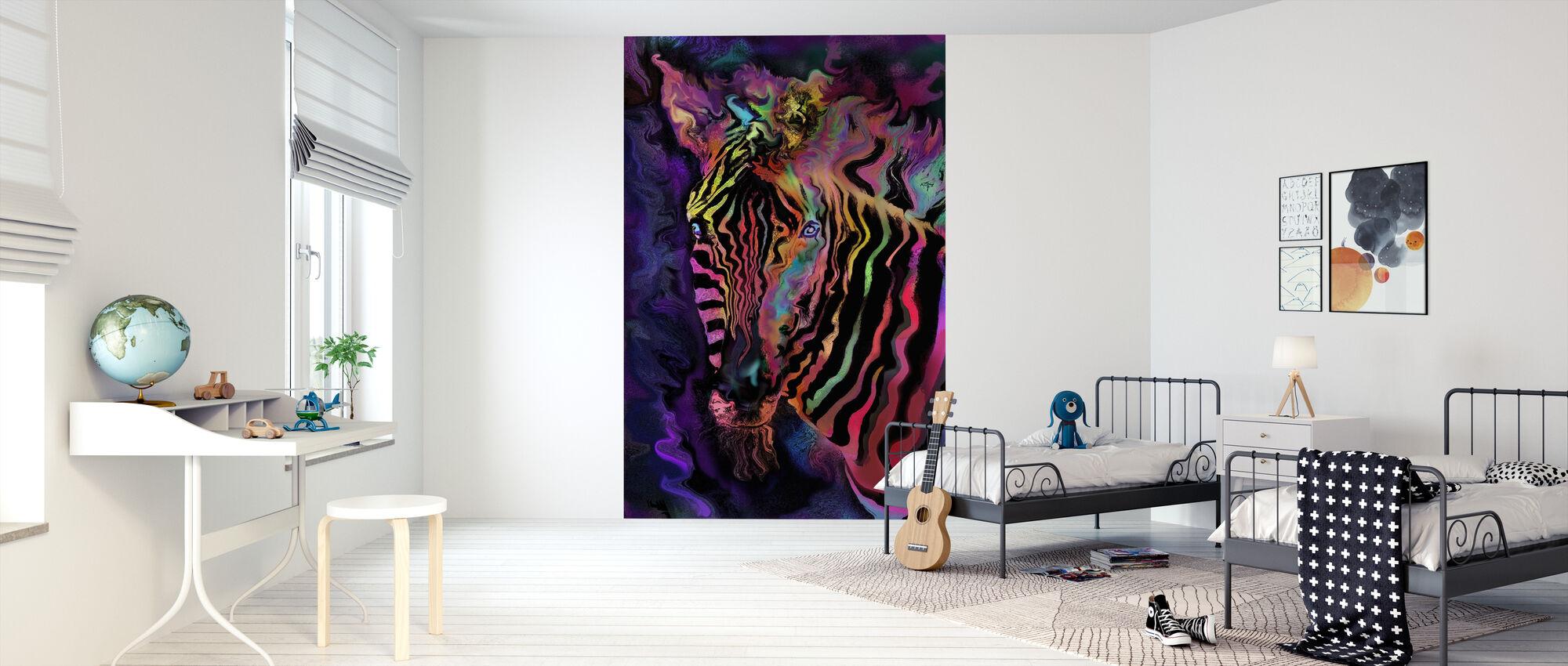Regenboog Zebra - Behang - Kinderkamer