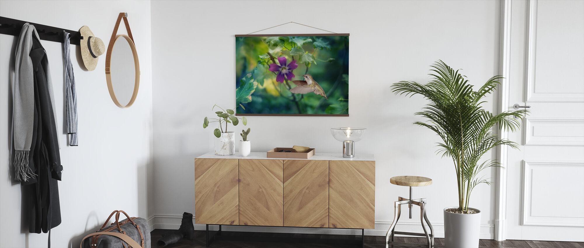 Purple Hummingbird Dewdrop - Poster - Hallway