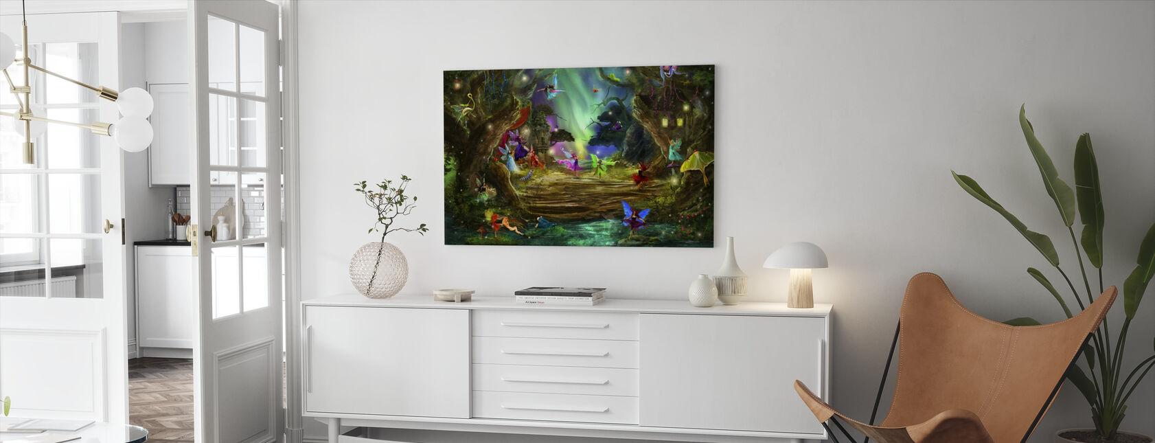 De dansende Aurora's - Canvas print - Woonkamer