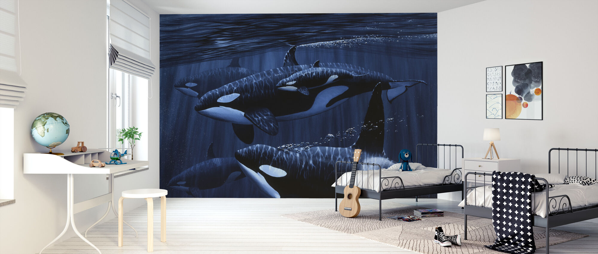 Orcas with Baby - Wallpaper - Kids Room