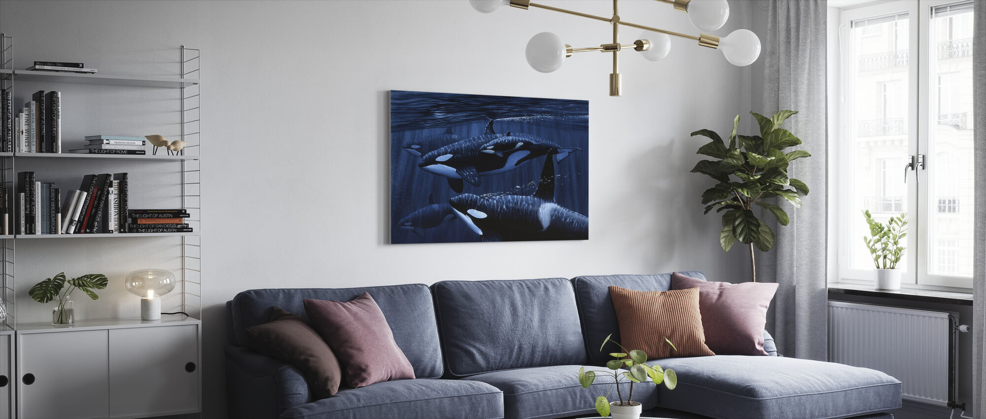 Orcas with Baby - Canvas print - Living Room
