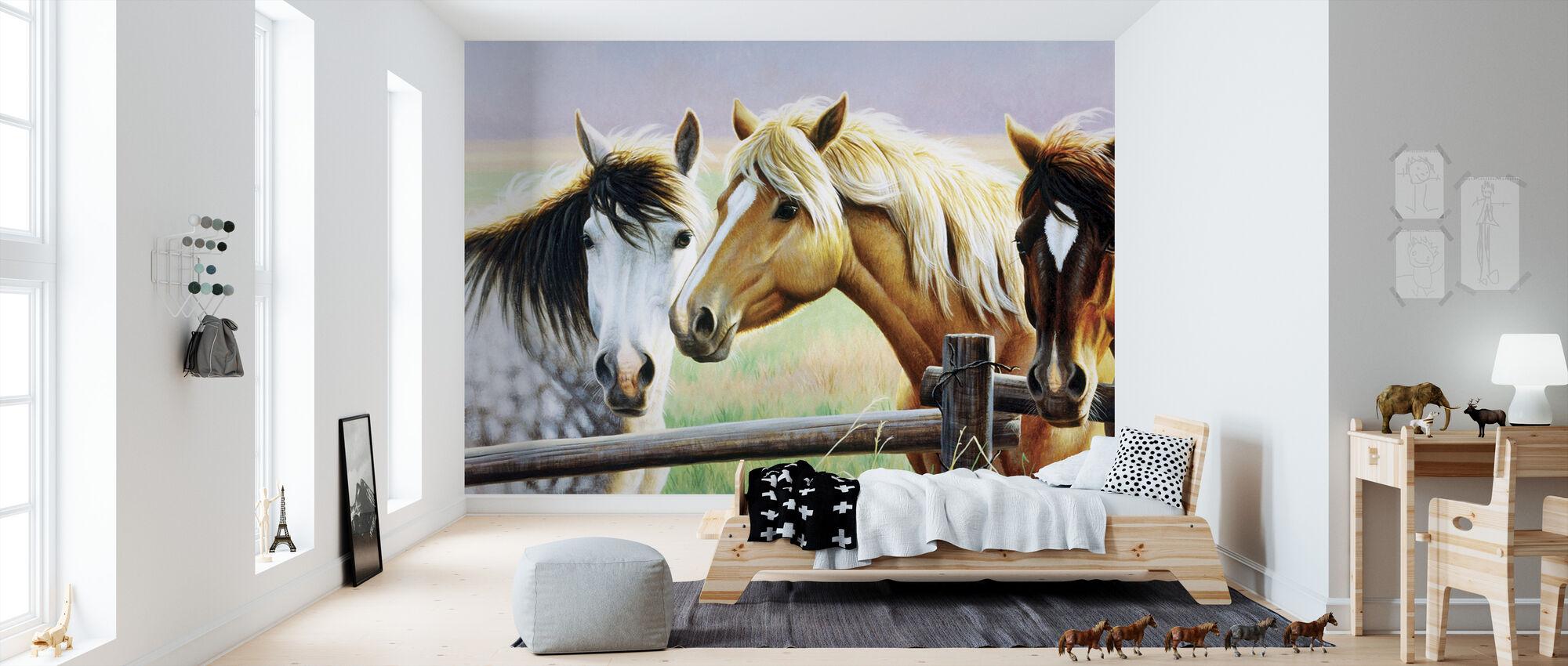 Tres caballos en la valla - Papel pintado - Cuarto de niños