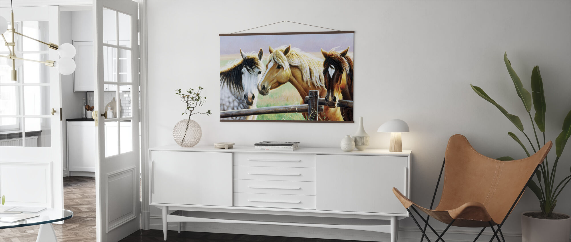 Tres caballos en la valla - Póster - Salón