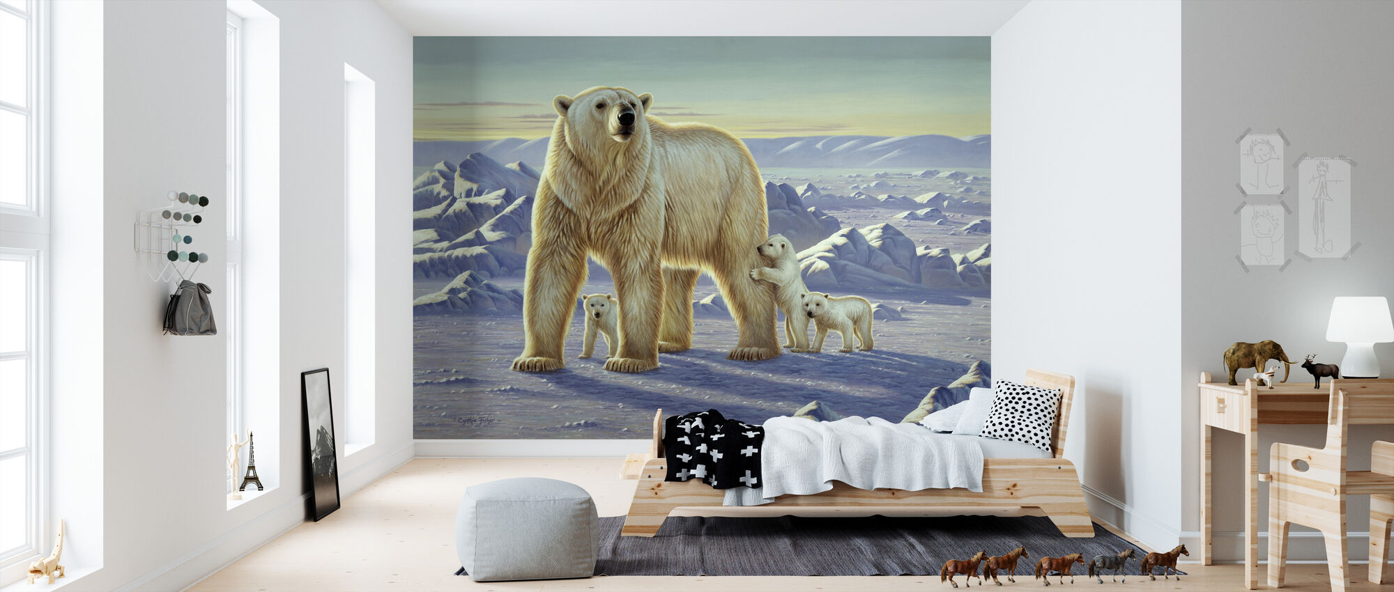 Polar Bear with Cubs - Wallpaper - Kids Room