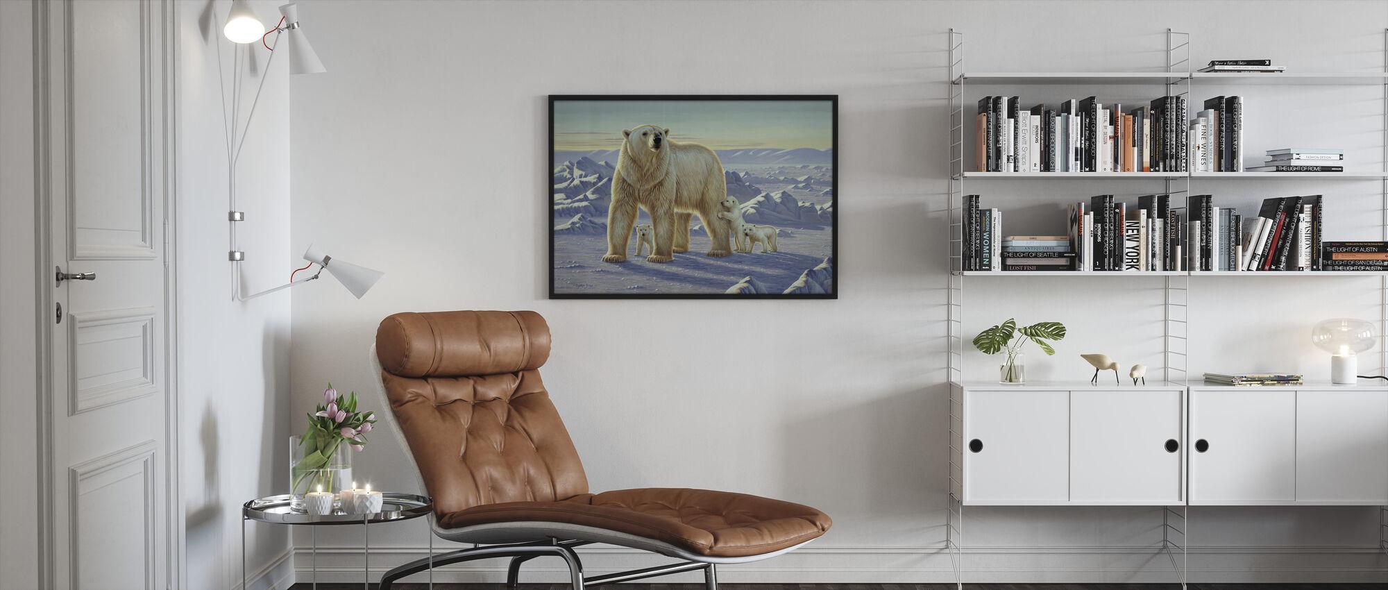 Polar Bear with Cubs - Framed print - Living Room