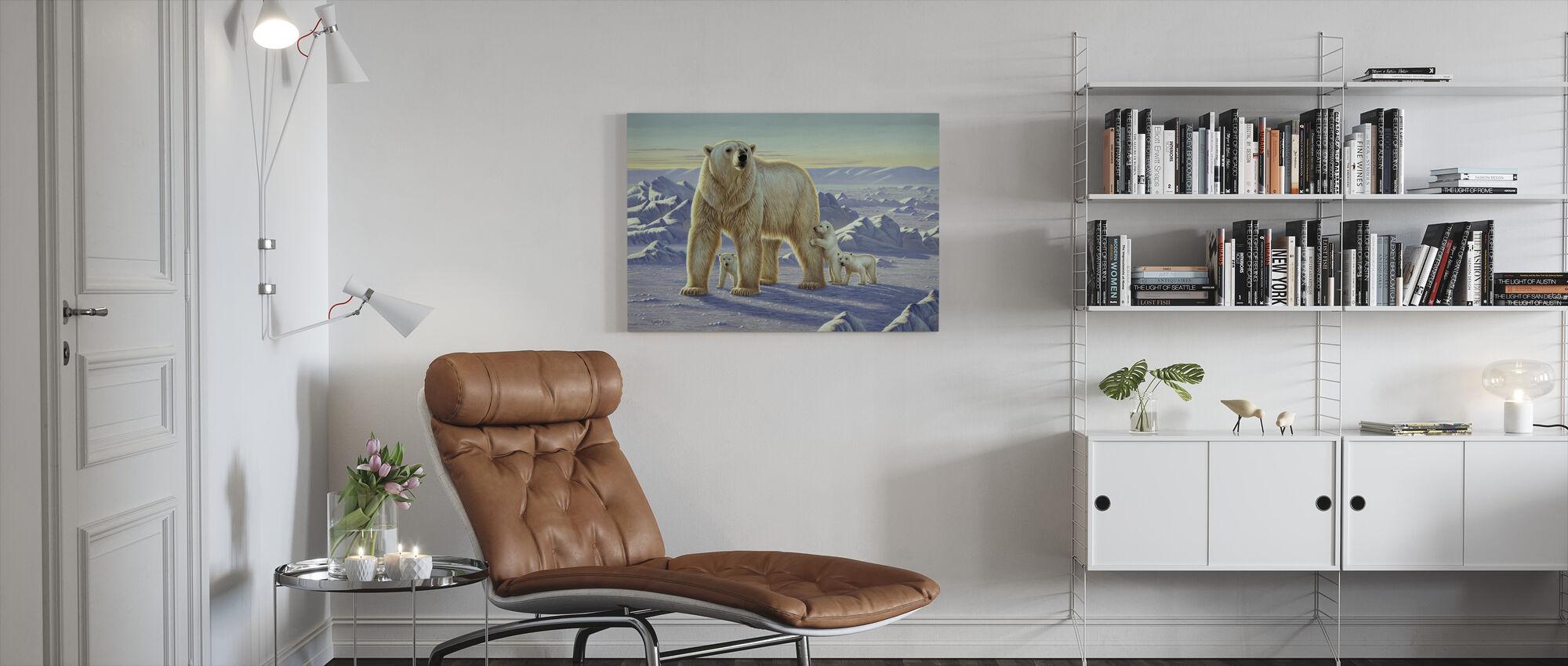Isbjörn med ungar - Canvastavla - Vardagsrum