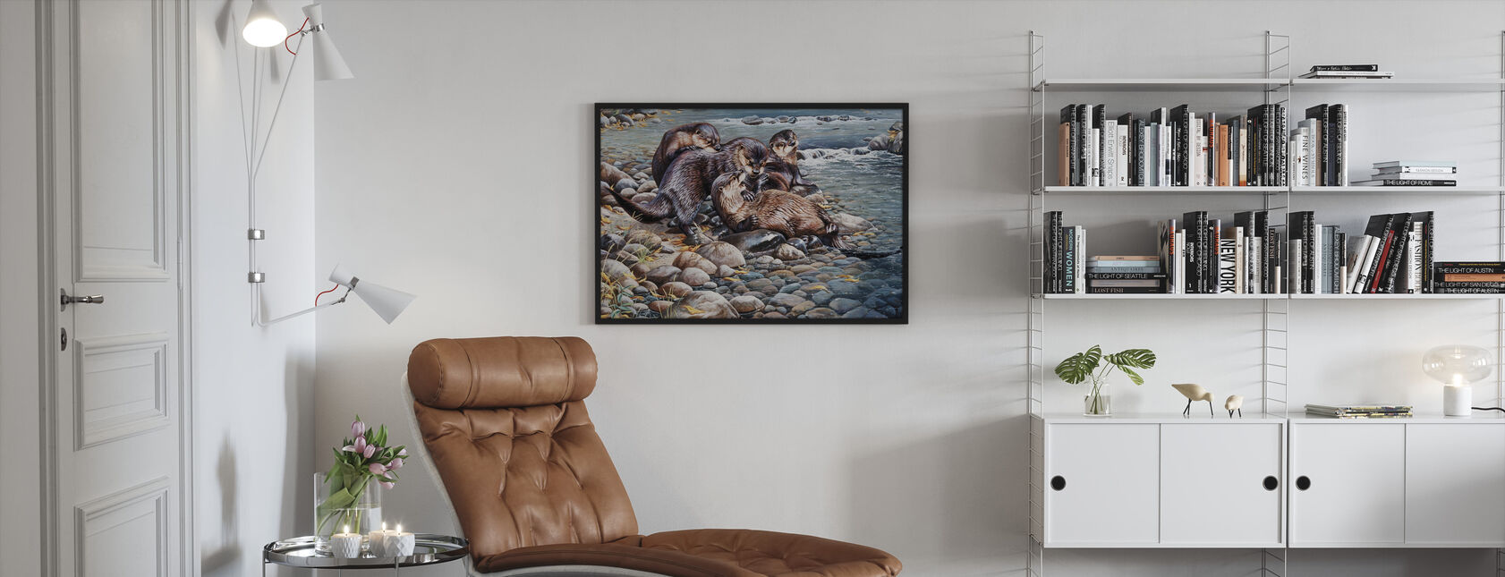 Otters Playing - Framed print - Living Room