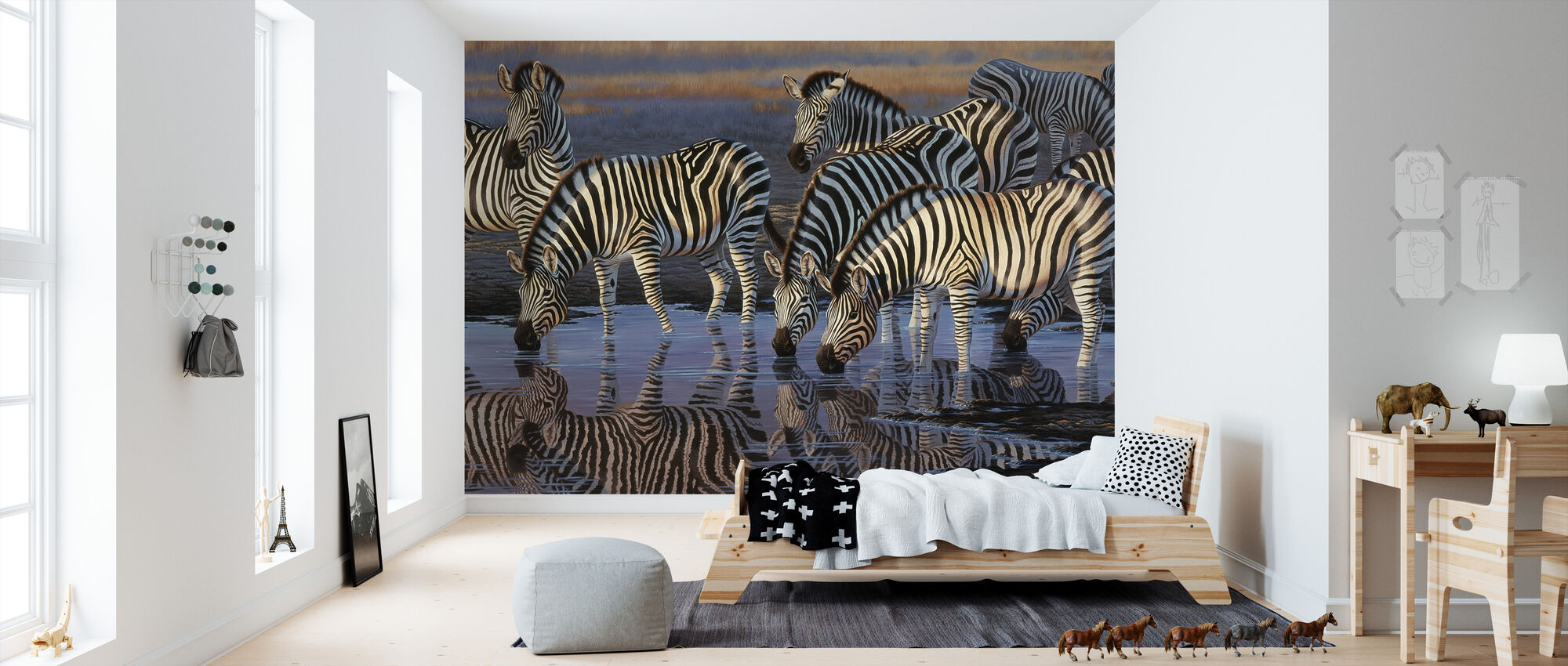 Zebras at Waterhole - Tapet - Barnrum