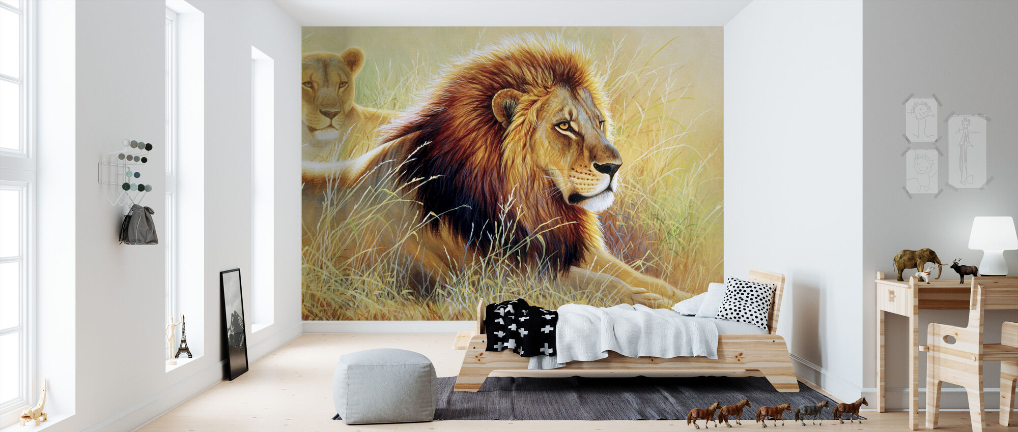 Lion and Lioness - Wallpaper - Kids Room