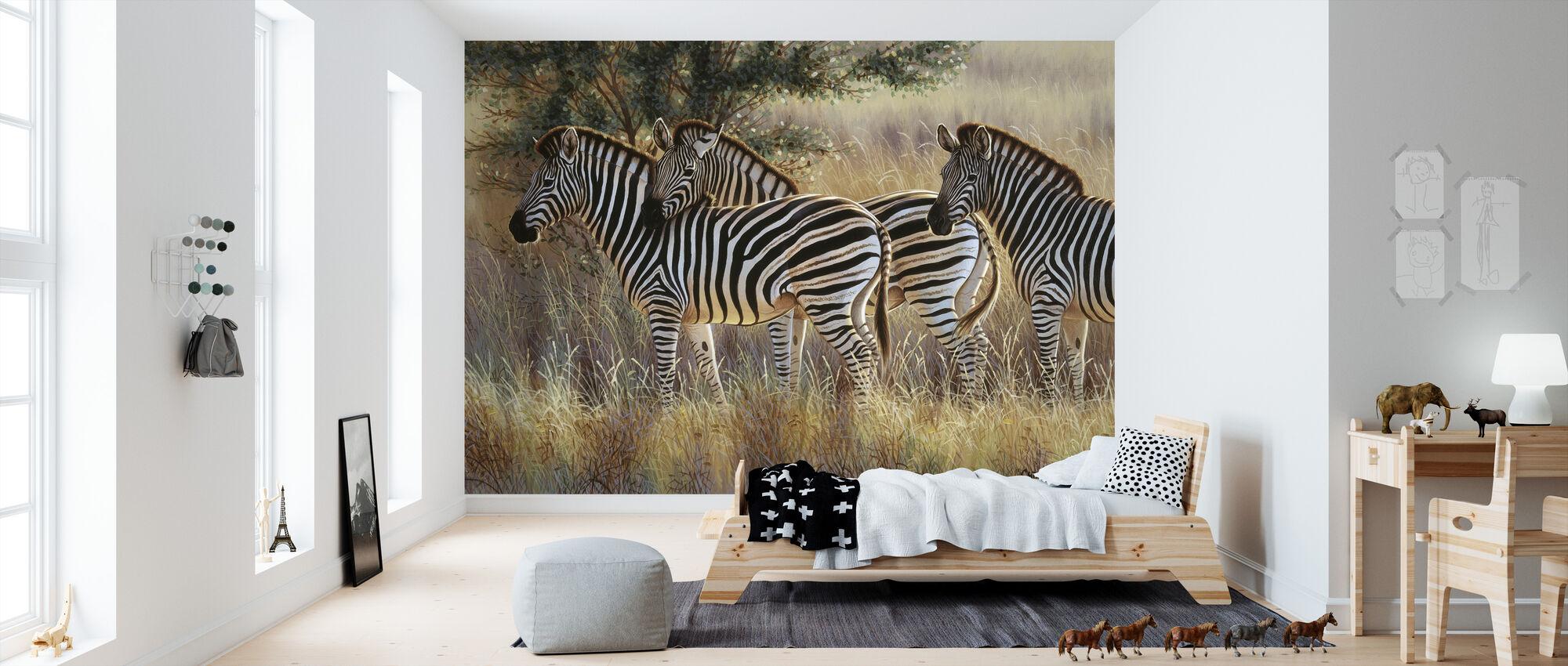 Tre Zebra-gruppen - Tapet - Barnrum