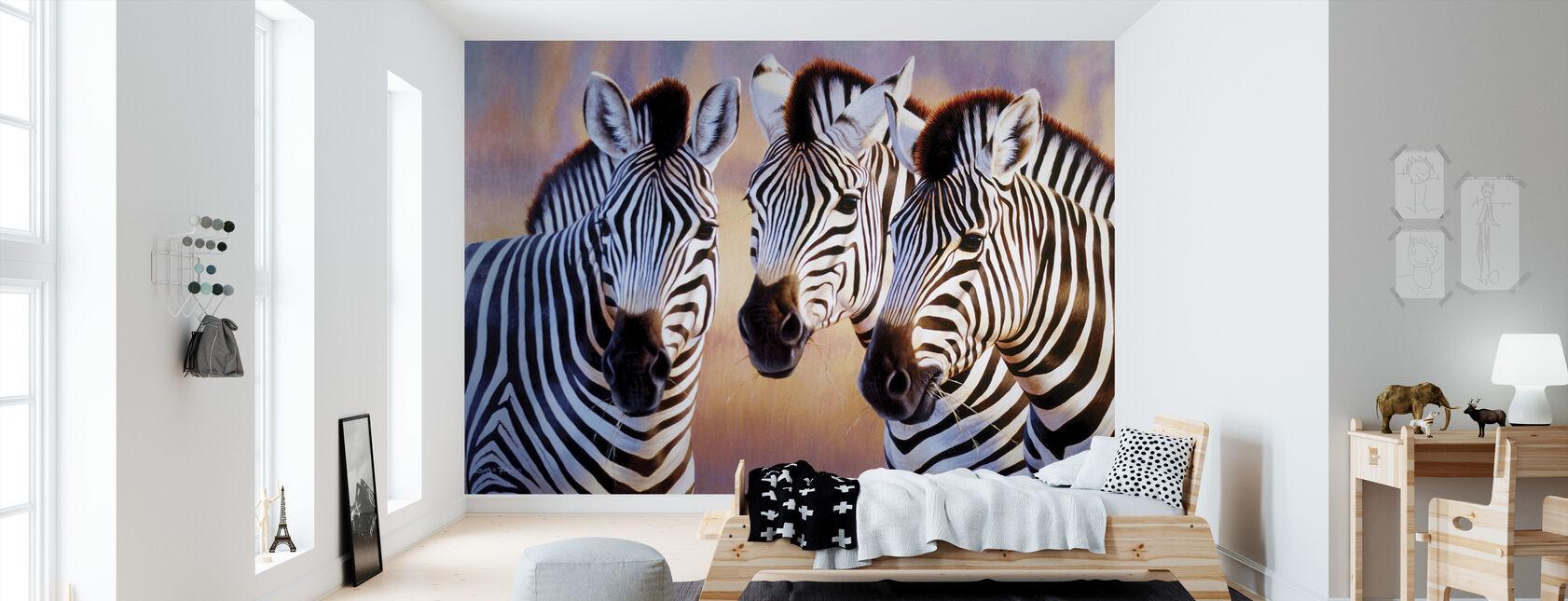 Stora Zebra huvuden - Tapet - Barnrum