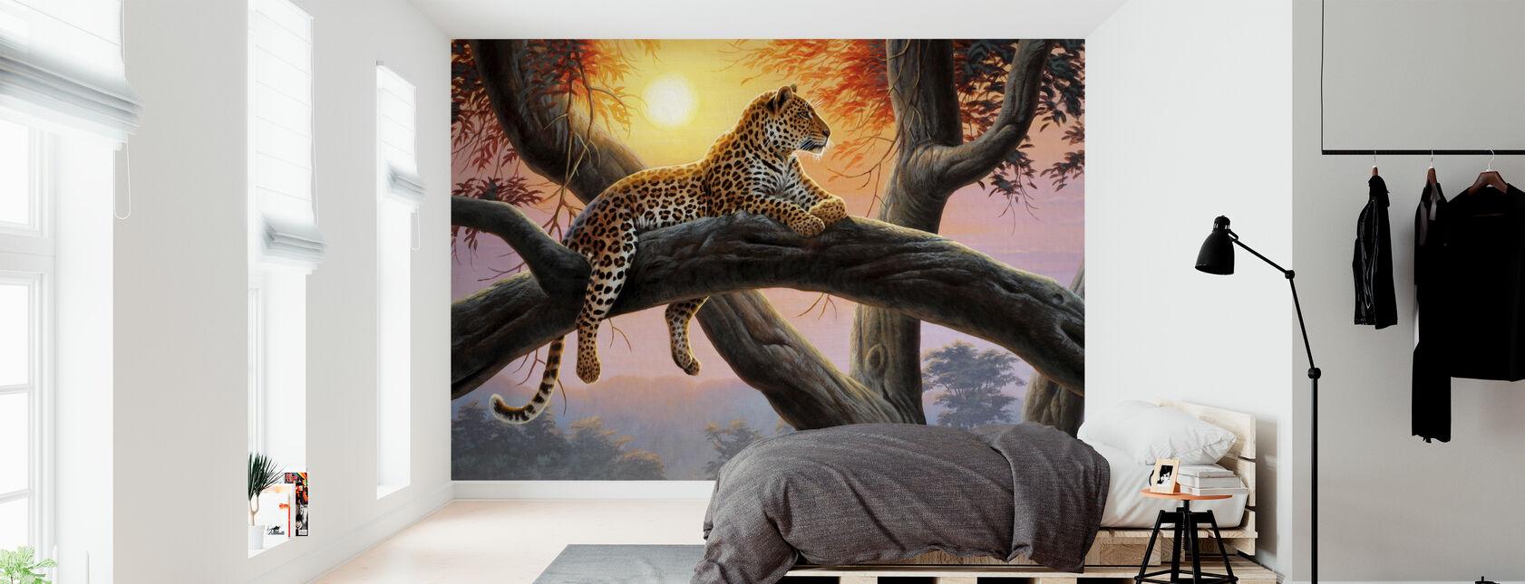 Avondhorloge - Luipaard - Behang - Slaapkamer