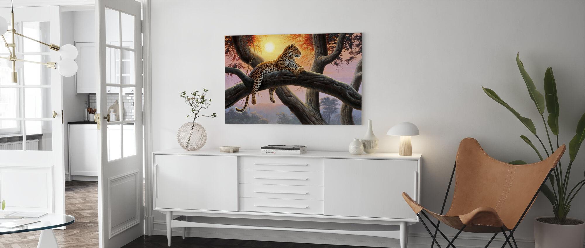 Kvällsklocka - Leopard - Canvastavla - Vardagsrum