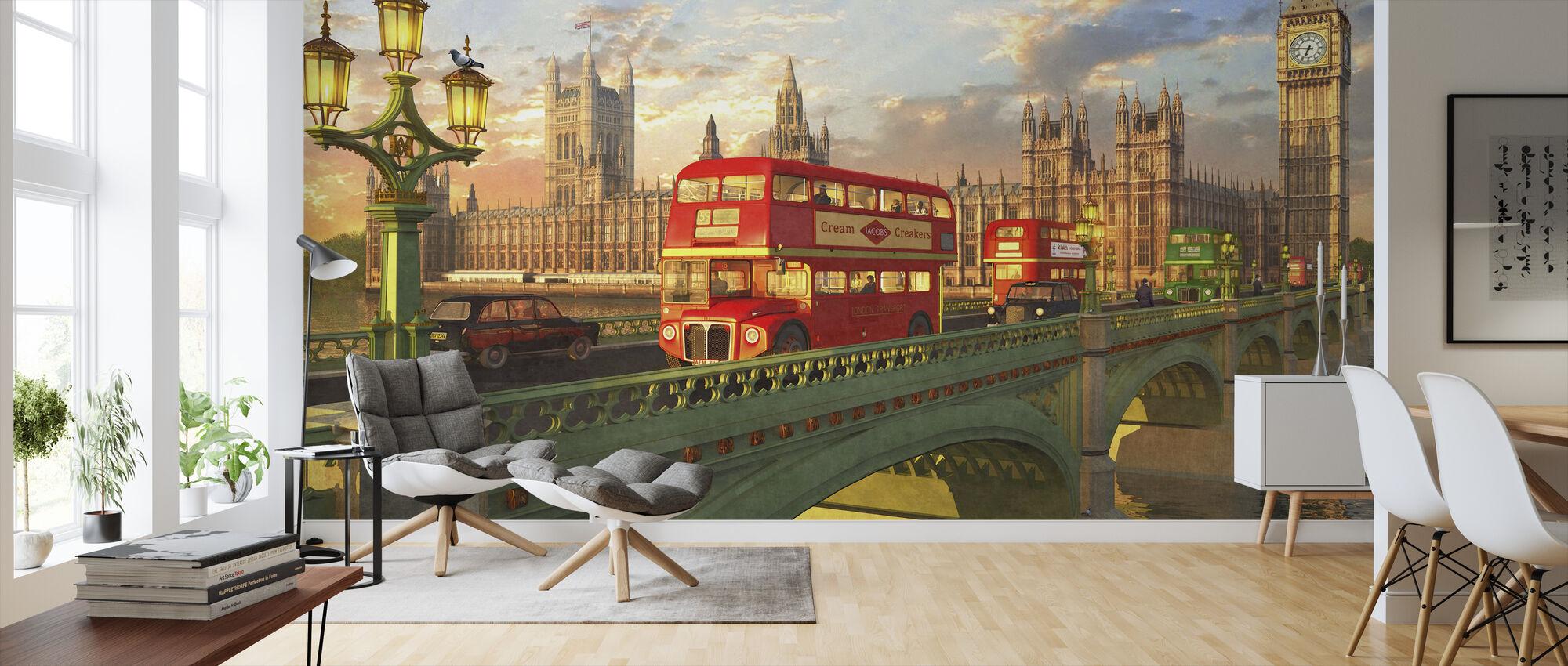 Westminster Bridge Buses - Wallpaper - Living Room