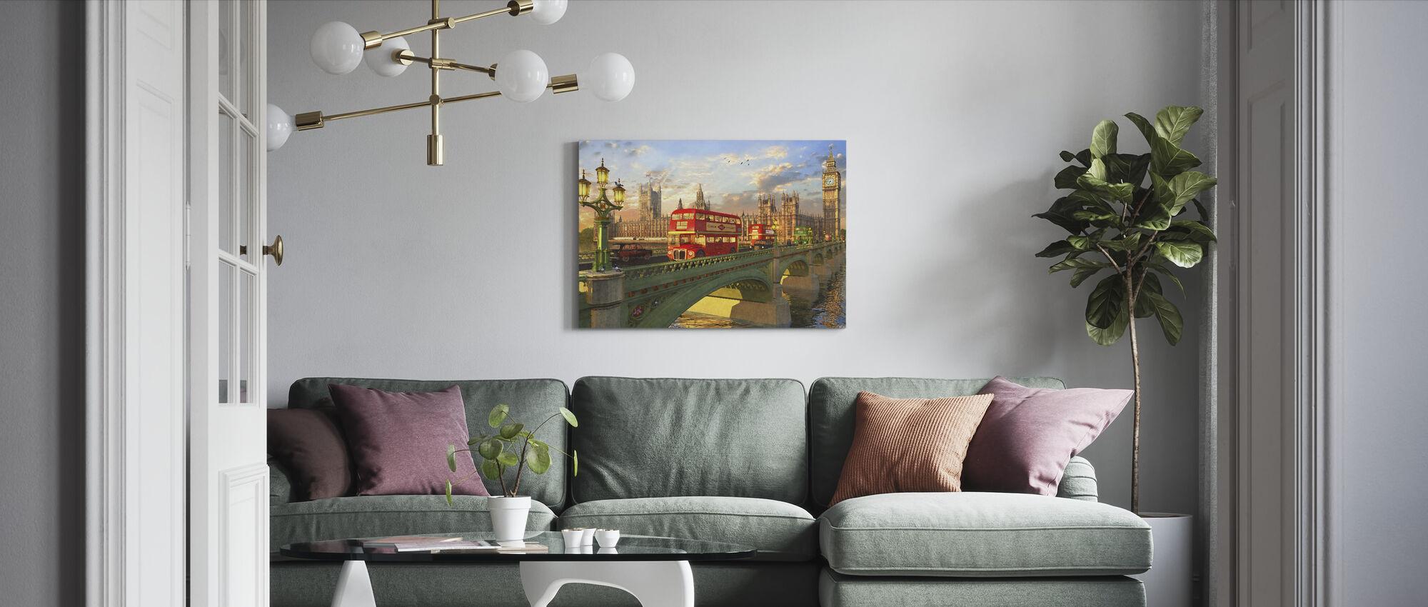 Busser i Westminster Bridge - Billede på lærred - Stue