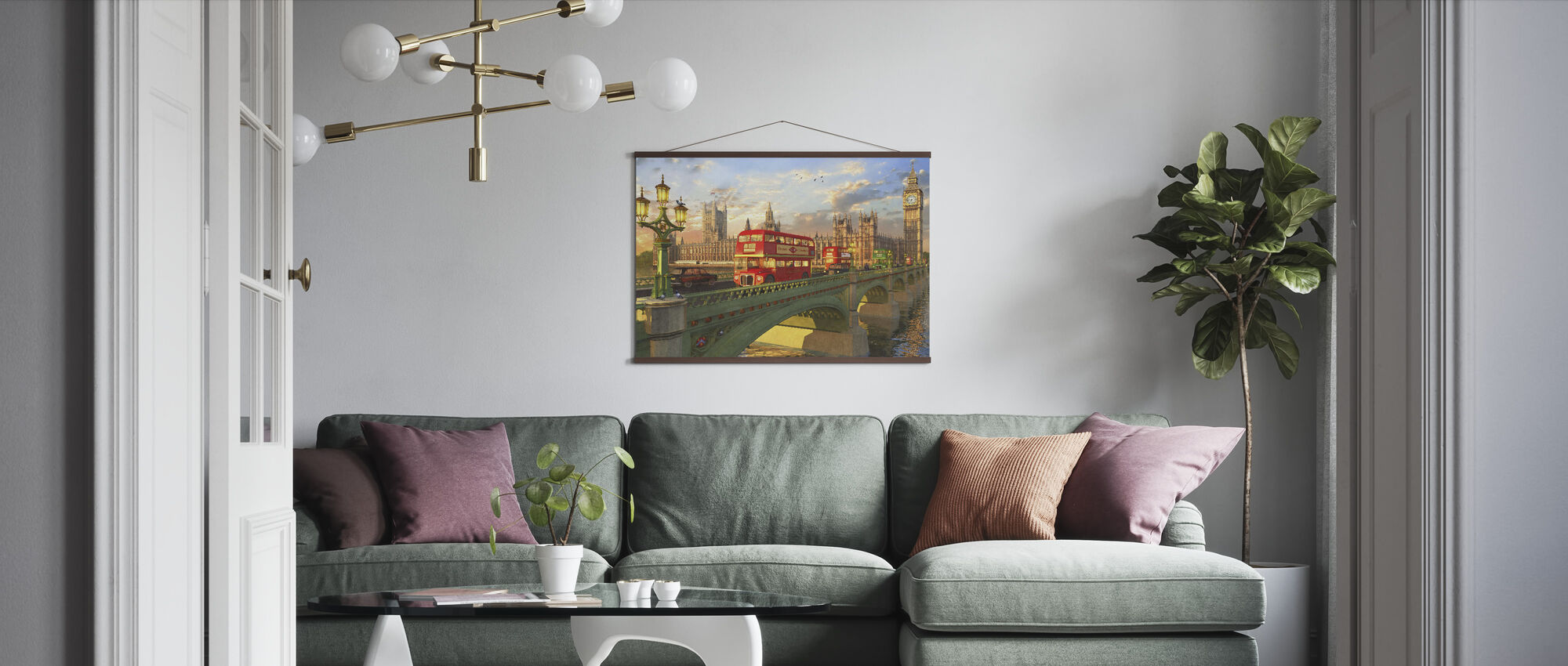 Westminster Bridge Buses - Poster - Living Room