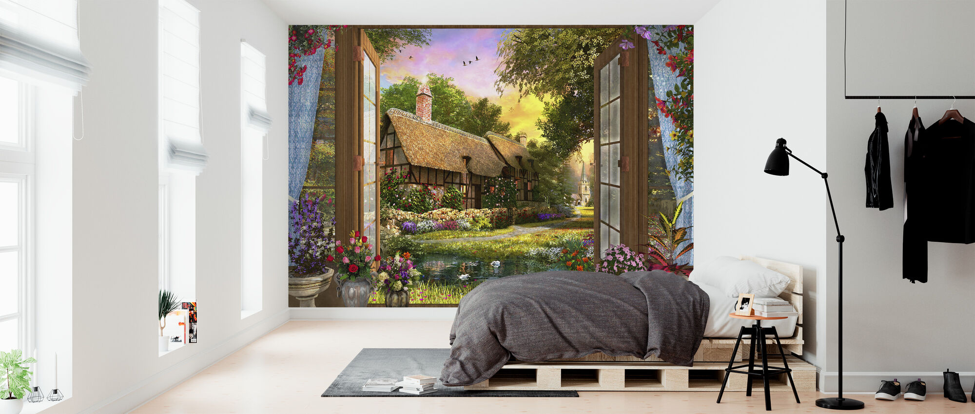 Cottage View Sunset - Wallpaper - Bedroom