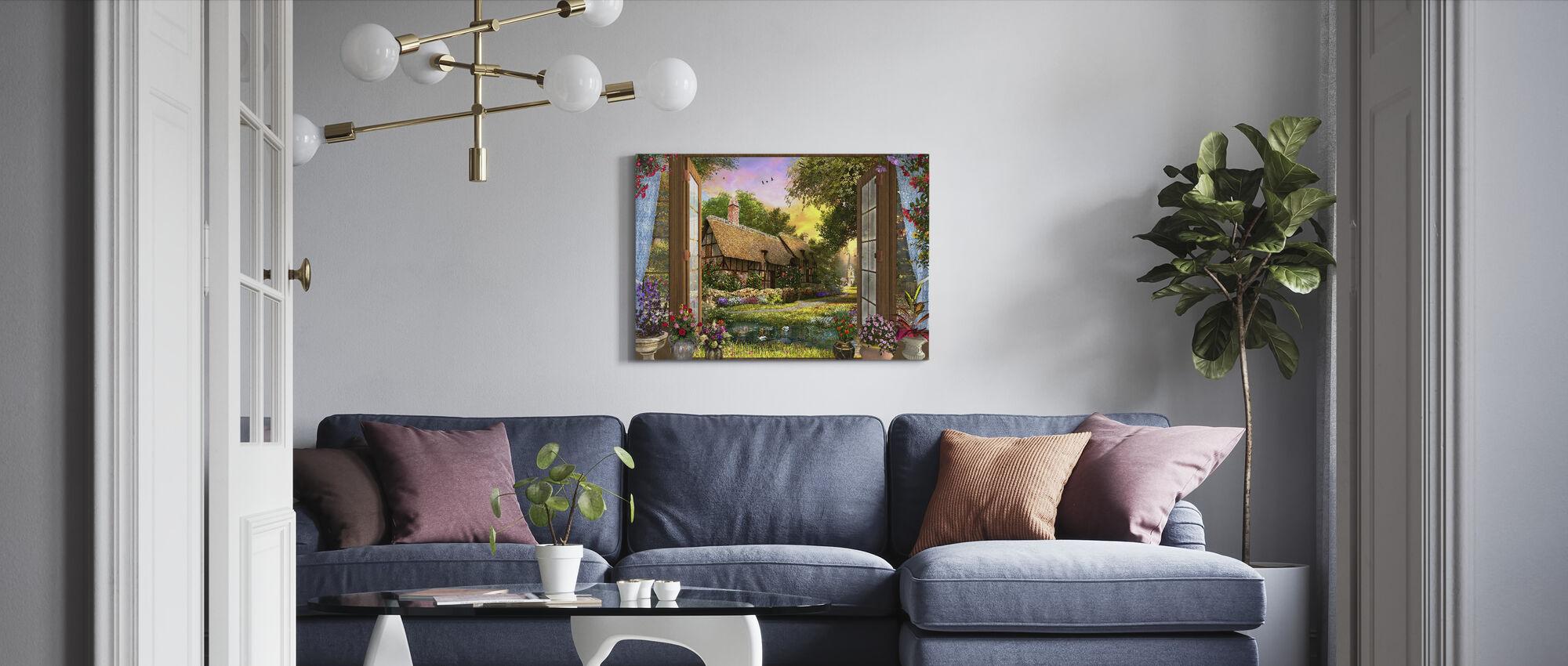 Cottage Uitzicht Zonsondergang - Canvas print - Woonkamer