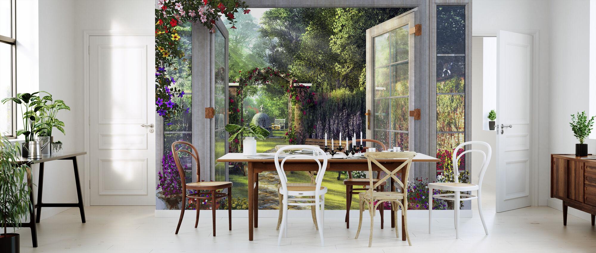 Blick auf den Garten - Tapete - Küchen