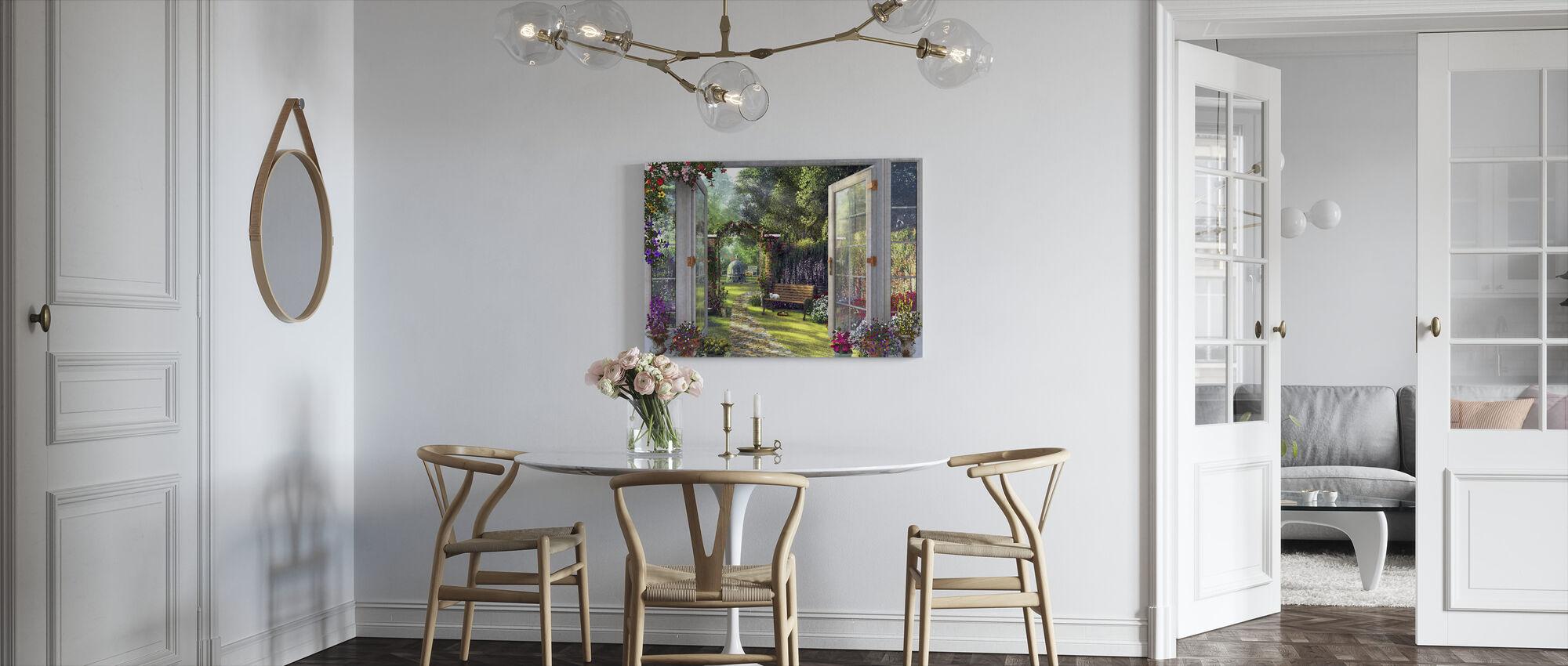 Uitzicht op de tuin - Canvas print - Keuken