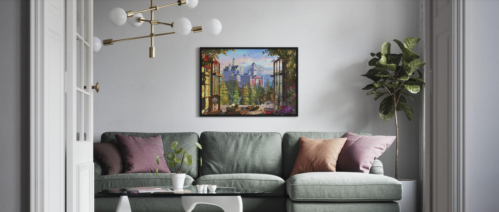 Mountain Castle through Window - Framed print - Living Room