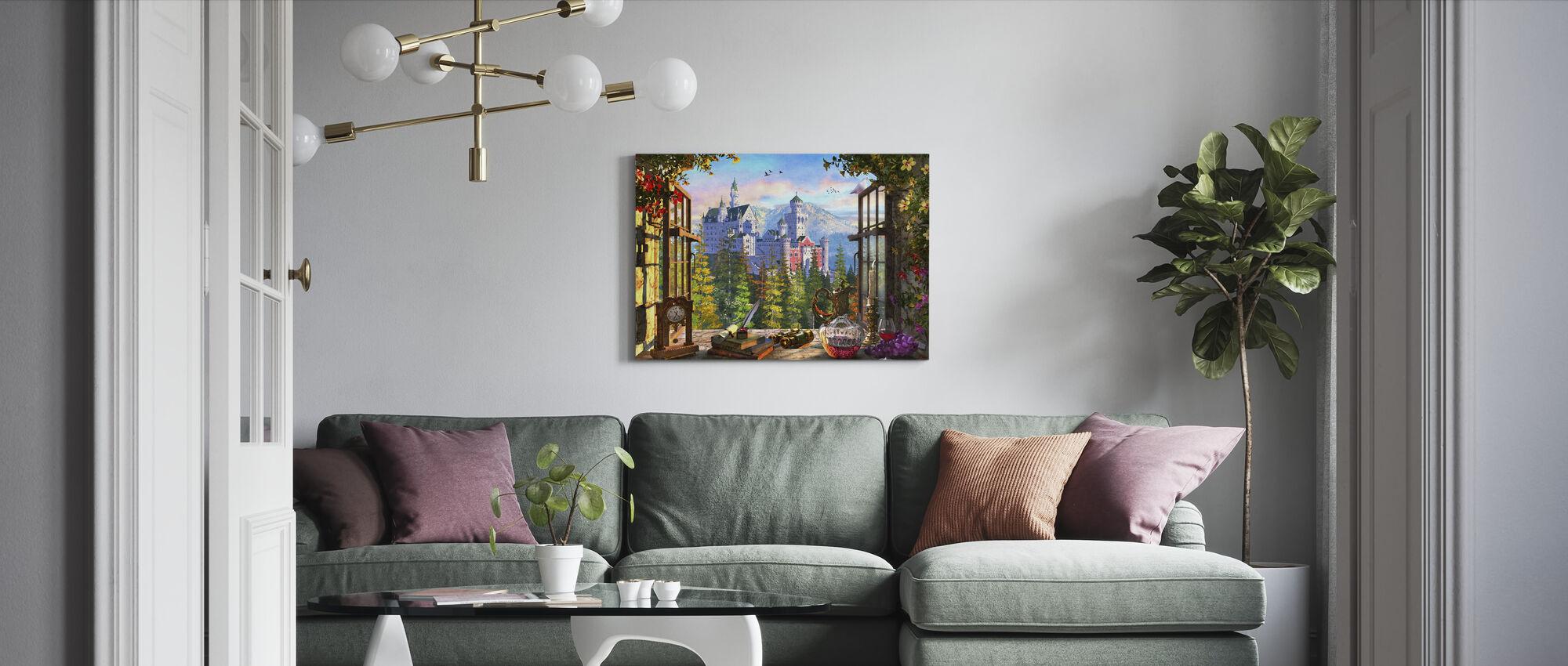 Vuoren linna ikkunan läpi - Canvastaulu - Olohuone