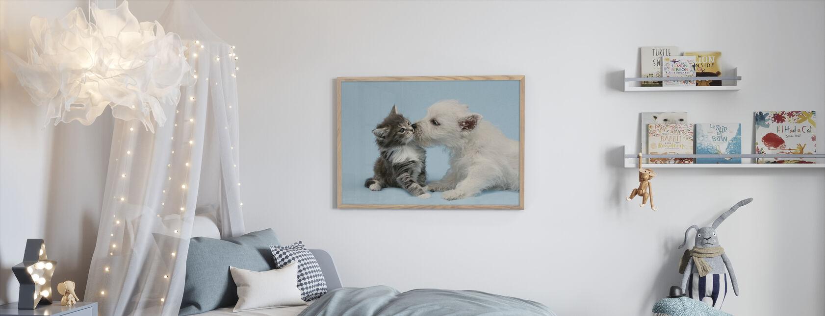 Hond Zoenen Kat - Ingelijste print - Kinderkamer
