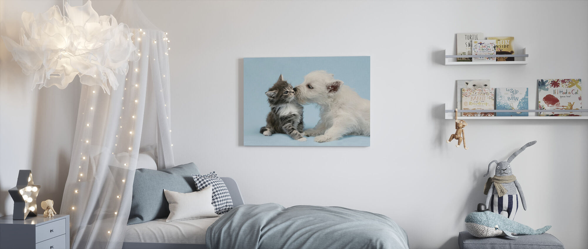 Dog Kissing Cat - Canvas print - Kids Room